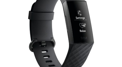 Product render of Fitbit Charge 3 in classic black and graphite